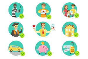 Insurance Contract Protecting Smiling People In Case Of Misfortune Insurance Company Services Infographic Illustrations