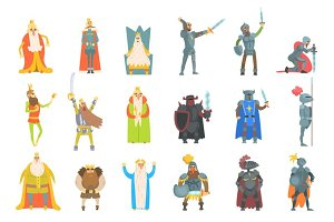 Fairy-Tale Kings Set Of Cartoon Fun Illustrations