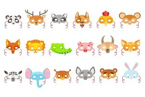 Animal Paper Masks Set Of Icons