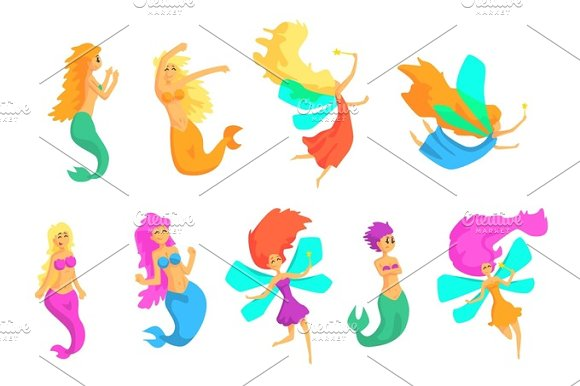 Mermaids And Fairies Fairy-Tale Fantastic Creatures With Wings Fish Tail Set Of Colorful Cartoon Characters