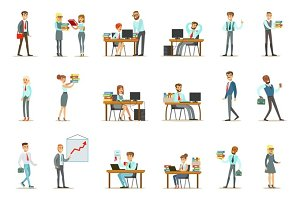 Happy Office Workers And Managers Working In The Office Space On Their Desks And Performing Other Tasks Set Of Illustrations