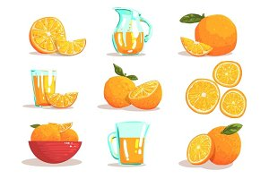 Oranges And Orange Juice Cool Style Bright Illustrations
