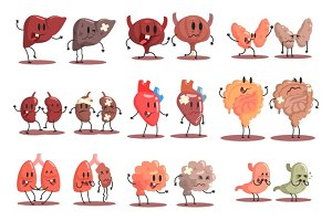Human Internal Organs Healthy Vs Unhealthy Set Of Medical Anatomic Funny Cartoon Character Pairs Organism Parts In Comparison Happy Against Sick And Damaged