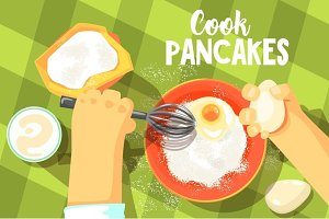 Pancakes Cooking Bright Color Illustration