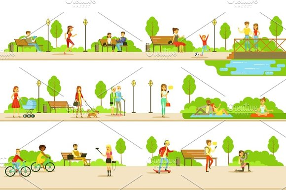 People Different Activities Outdoors Set Of Illustrations