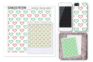Seamless XMas Heart Vector Pattern