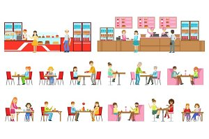 People In Sweet Pastry Cafe Set Of Illustrations