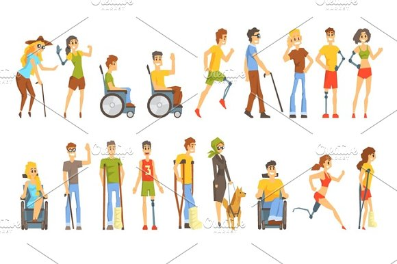 Young People With Permanent And Temporary Disabilities Overcoming The Injury Living Full Live Collection Of Vector Illustrations