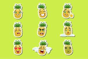Pineapple Cute Emoji Stickers Set On Green Background