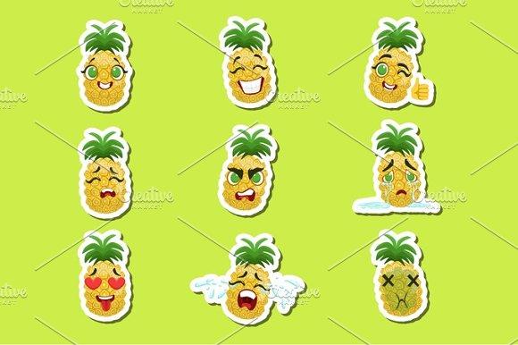 Pineapple Cute Emoji Stickers Set On Green Background