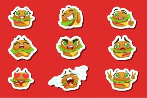 Burger Cute Emoji Stickers Set