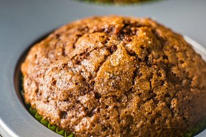 Banana chocolate muffin with caramel sugar topping