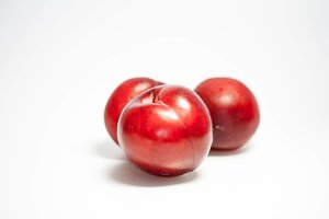 Set of red plums