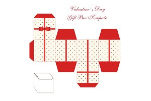 Cute retro square gift box template with hearts ornament to print, cut and fold