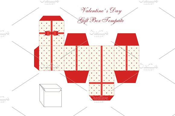 Cute Retro Square Gift Box Template With Hearts Ornament To Print Cut And Fold