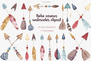 Boho watercolor arrows & patterns