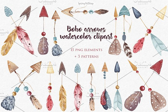 Boho Watercolor Arrows Patterns