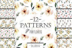 Pink watercolor flowers 12 Patterns