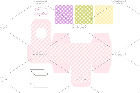 Cute Retro Square Gift Box Template With Gingham Ornament To Print Cut And Fold