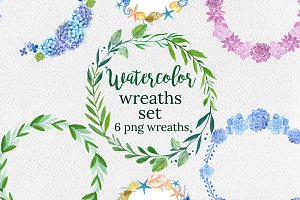 Watercolor Wreaths Set