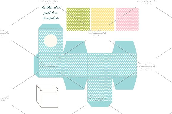 Cute Retro Square Gift Box Template With Polka Dots Ornament To Print Cut And Fold