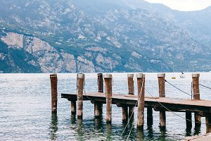 Old wooden wharf on Garda lake