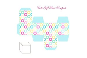 Cute retro square gift box template with circles ornament to print, cut and fold