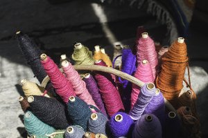 Reels colorful yarn
