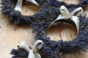 Tiny lavender wreaths