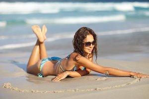 woman in swimsuit having fun time