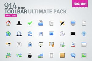 914 icons in Toolbar Ultimate Pack