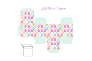 Cute retro square gift box template with drops ornament to print, cut and fold