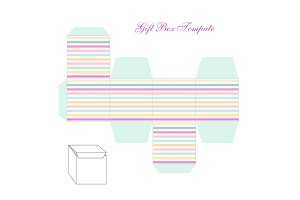 Cute retro square gift box template with striped ornament to print, cut and fold