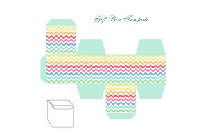 Cute retro square gift box template with chevron ornament to print, cut and fold