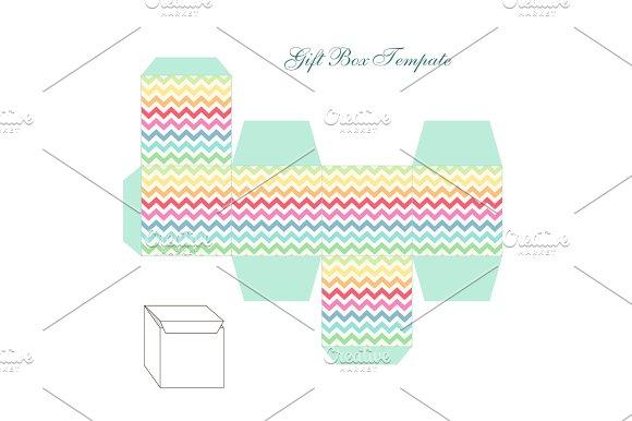 Cute Retro Square Gift Box Template With Chevron Ornament To Print Cut And Fold
