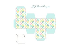 Cute retro square gift box template with stars ornament to print, cut and fold