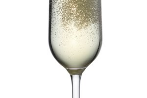 Glass of white champagne wine