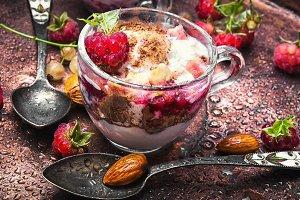 raspberry ice cream in cup