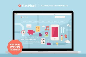 FlatPixel - Illustrated PSD Template