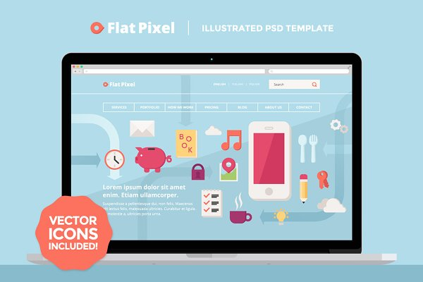 Landing Page Templates: Mgd.Design - FlatPixel - Illustrated PSD Template