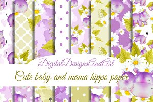 Baby and mama hippo papers