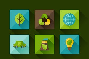Ecology set of environment icons.