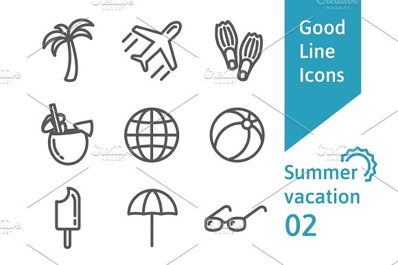 Summer Vacation Outline Icons Set 02