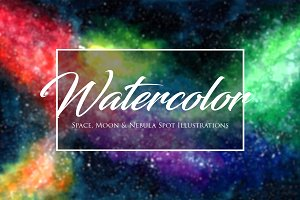 Watercolor Space, Moon, & Nebulas
