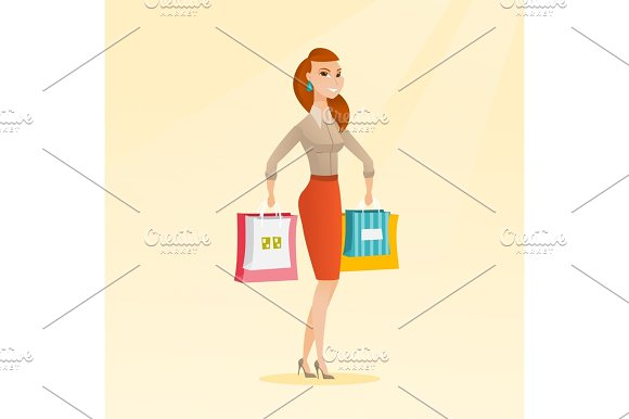 Young Happy Caucasian Woman With Shopping Bags