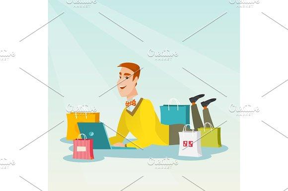 Young Caucasian Man Doing Online Shopping