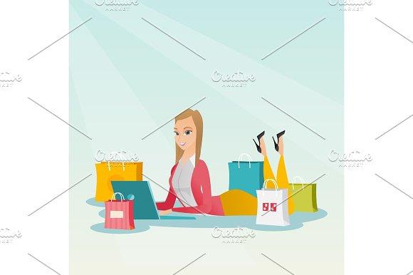 Young Caucasian Woman Doing Online Shopping