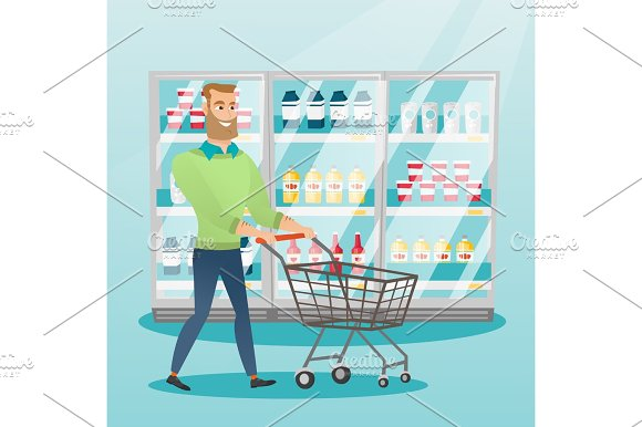 Young Caucasian Man With Supermarket Trolley