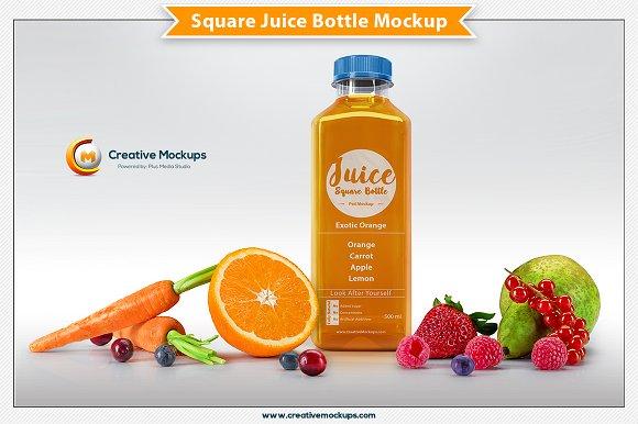 Free Square Juice Bottle Mockup