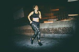 woman practicing running